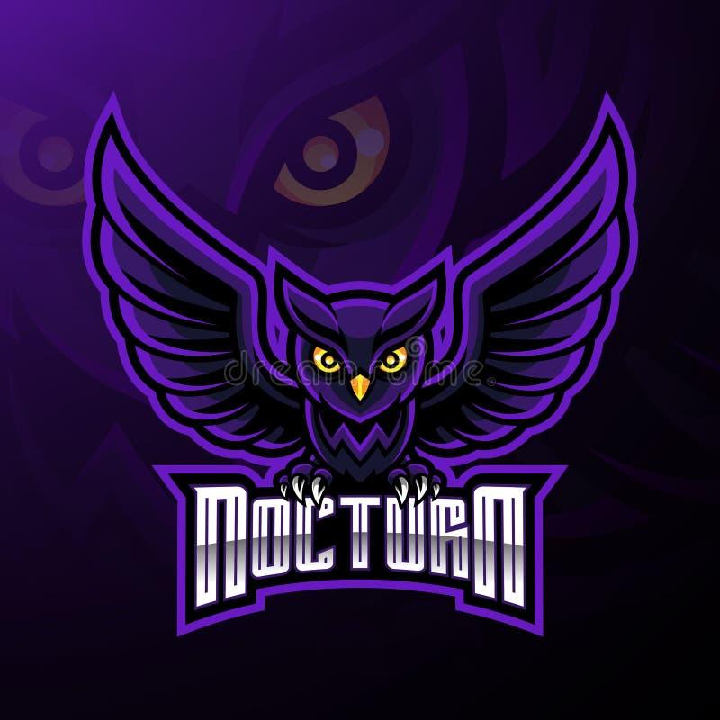 Conception nocturne de logo de mascotte de hibou d'oiseau illustration libre de droits