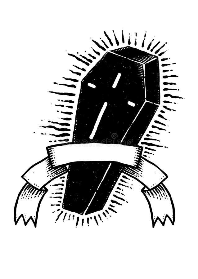 Conception noire Art Illustration de mystère de cercueil illustration libre de droits