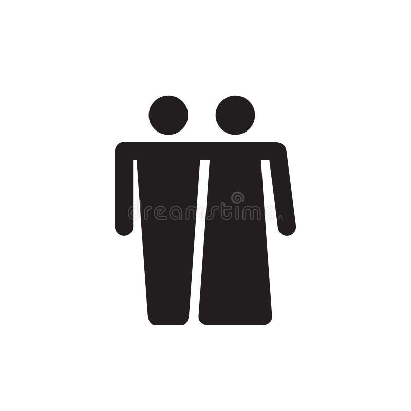 Conception noire d'icône de couples sur le fond blanc Illustration de vecteur illustration stock