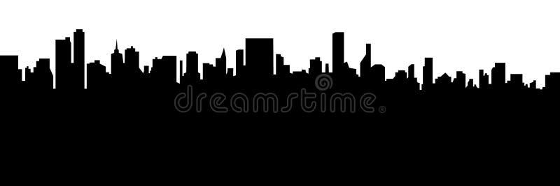 Conception noire de bannière de vecteur de silhouette de paysage urbain moderne illustration libre de droits
