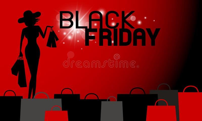 Conception noire de bannière de vendredi de femme tenant le sac à provisions illustration libre de droits
