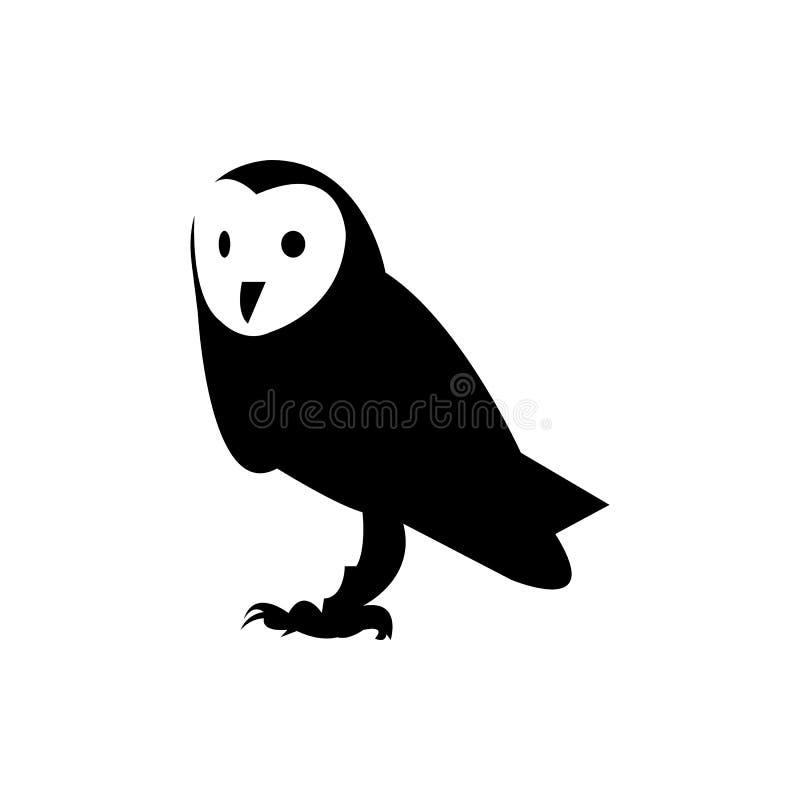 Conception noire de logo de hibou sur le fond blanc illustration de vecteur