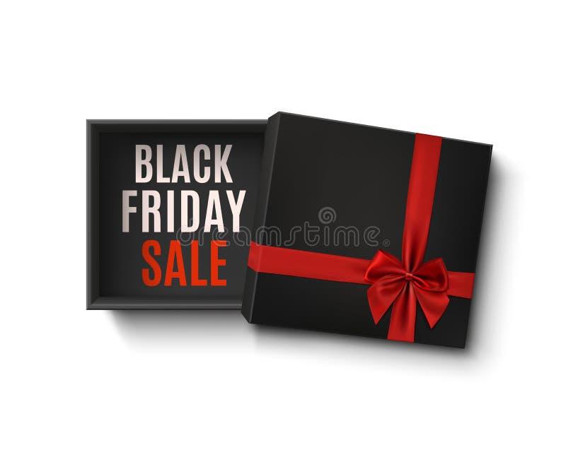 Conception noire de vente de vendredi Cadre de cadeau vide ouvert illustration de vecteur