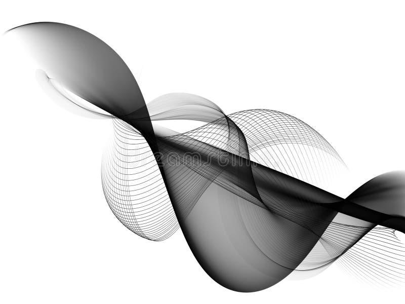 Conception noire et blanche abstraite de vague illustration libre de droits