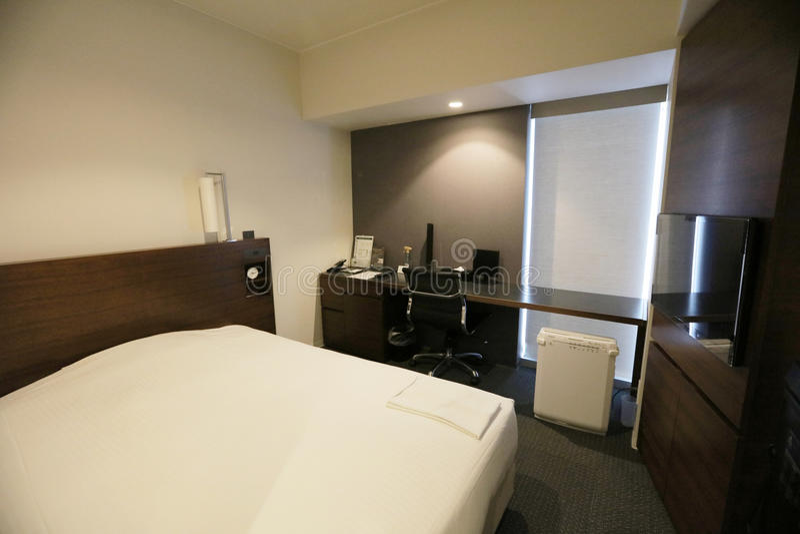 conception noire et blanche d'interoir de chambre à coucher d'hôtel photographie stock libre de droits
