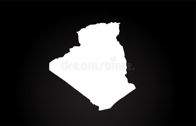 Conception noire et blanche de logo de carte de frontière de pays de l'Algérie illustration stock