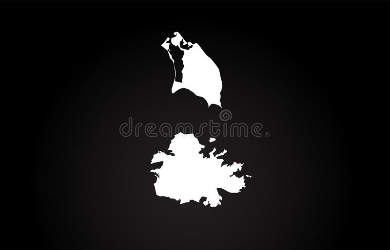 Conception noire et blanche de logo de carte de frontière de pays de l'Antigua illustration libre de droits