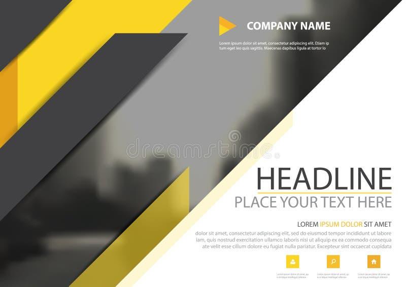 Conception noire jaune de vecteur de couverture d'insecte de brochure d'affaires de triangle, tract faisant de la publicité le fo illustration stock