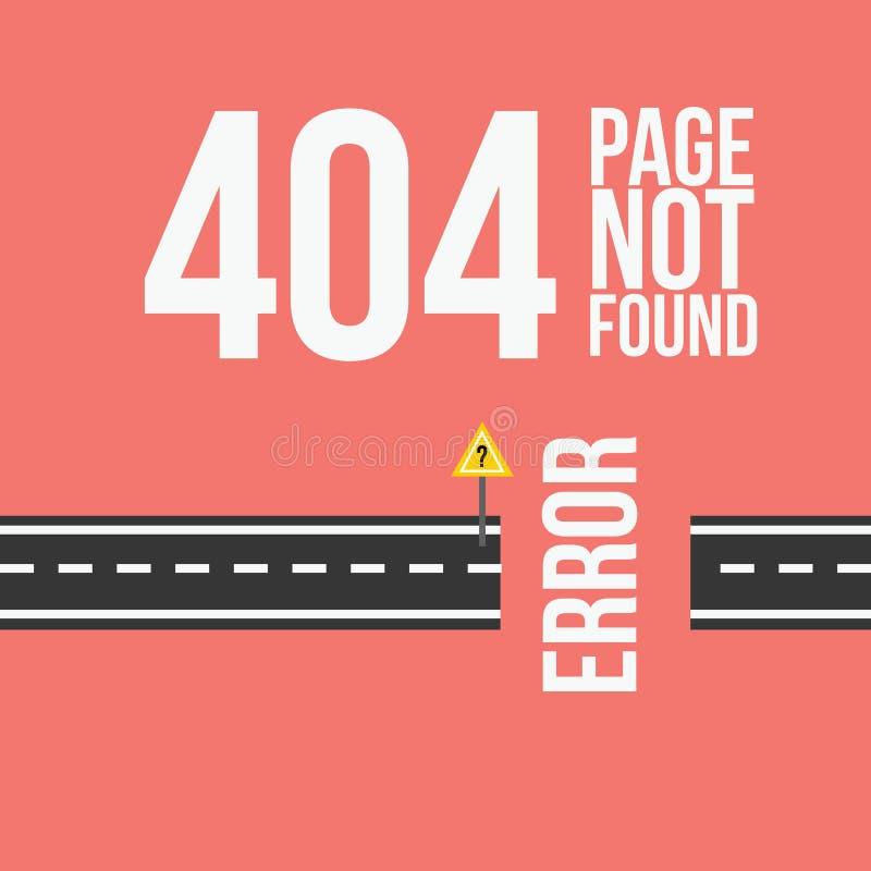 Conception non trouvée de l'erreur 404 de page pour le site Web ou le blog dans le styl plat illustration stock