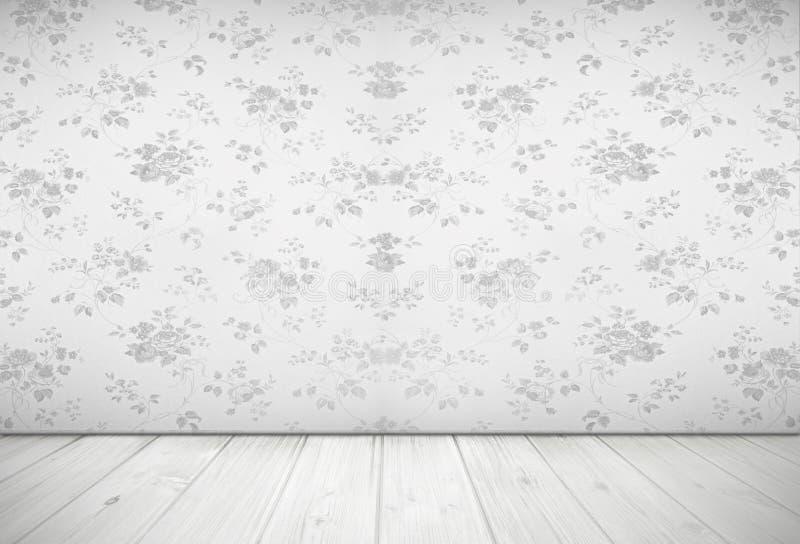 Conception nostalgique de salon avec le papier peint rose de vintage, lumière photographie stock