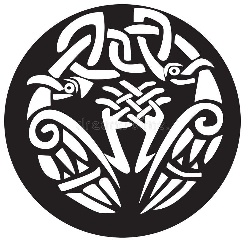 Conception nouée d'oiseaux de Viking illustration stock