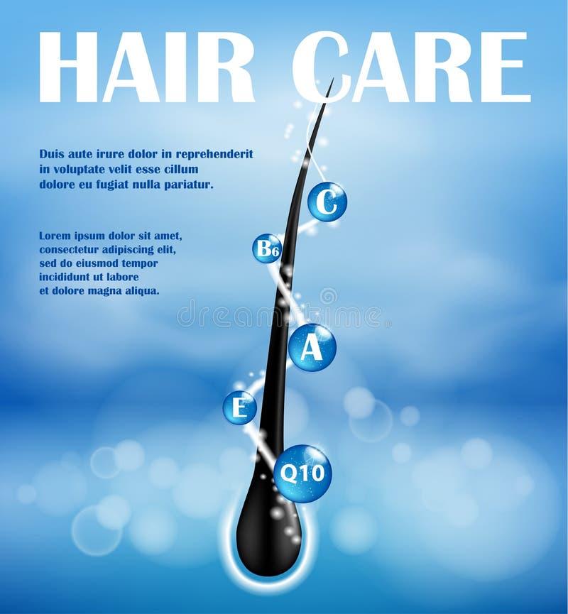Conception nourrissante d'annonces de shampooing de cheveux Extrémités de concept dédoublant la prévention Shampooing de soins ca illustration stock