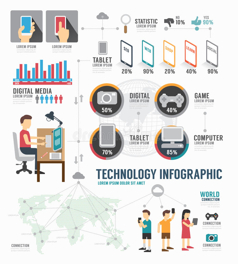 Conception numérique de calibre de technologie d'Infographic vecteur de concept illustration libre de droits
