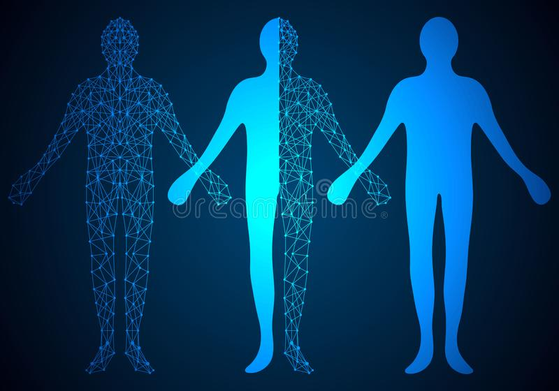 Conception numérique humaine de concept abstrait de technologie sur le dos de pointe image stock