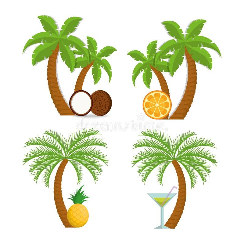 Conception orange de cocktail et de palmier d 39 ananas de - Palmier noix de coco ...