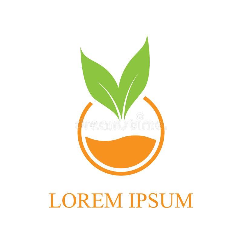Conception orange de logo d'icône de nature de l'eau et de feuille d'illustration de vecteur illustration libre de droits
