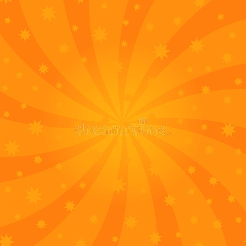 Conception orange de remous de bande dessinée Rayons de rotation d'hélice Modèle étoilé radial de tourbillonnement Ciel avec les  illustration stock