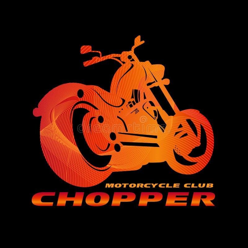 Conception orange de vecteur de logo de club de moto de couperet (ligne style d'art de mélange) illustration de vecteur