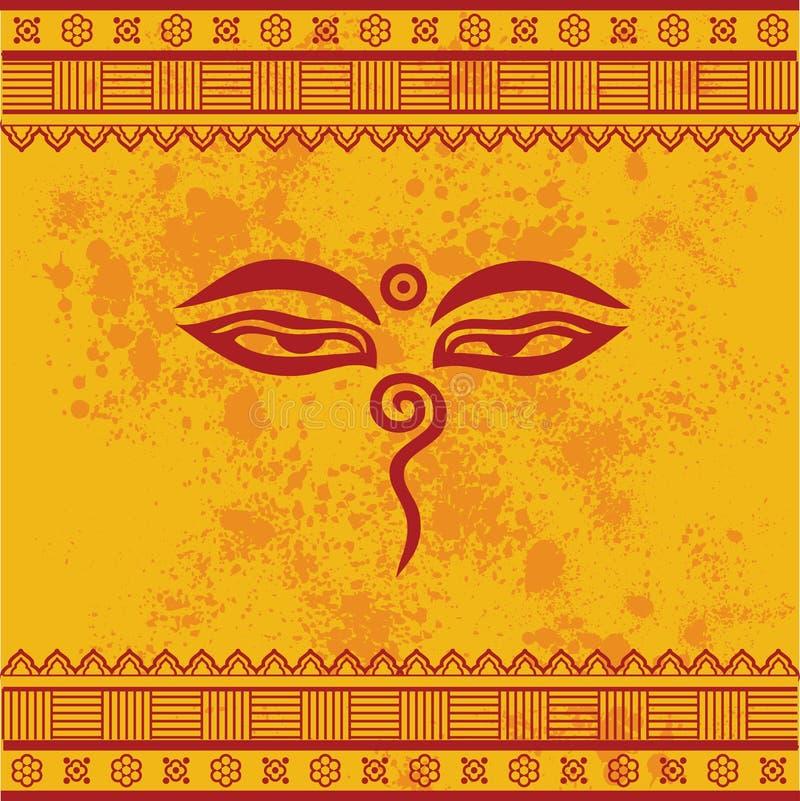 Conception orientale jaune de yeux de Bouddha illustration de vecteur