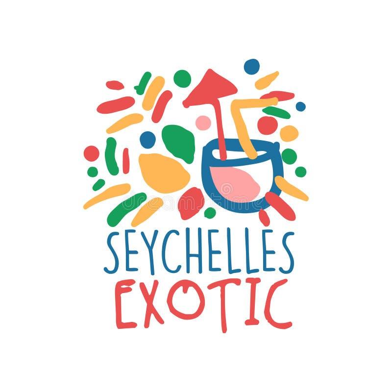 Conception originale de calibre de logo d'île des Seychelles, insigne exotique de vacances d'été, label pour une agence de voyage illustration de vecteur