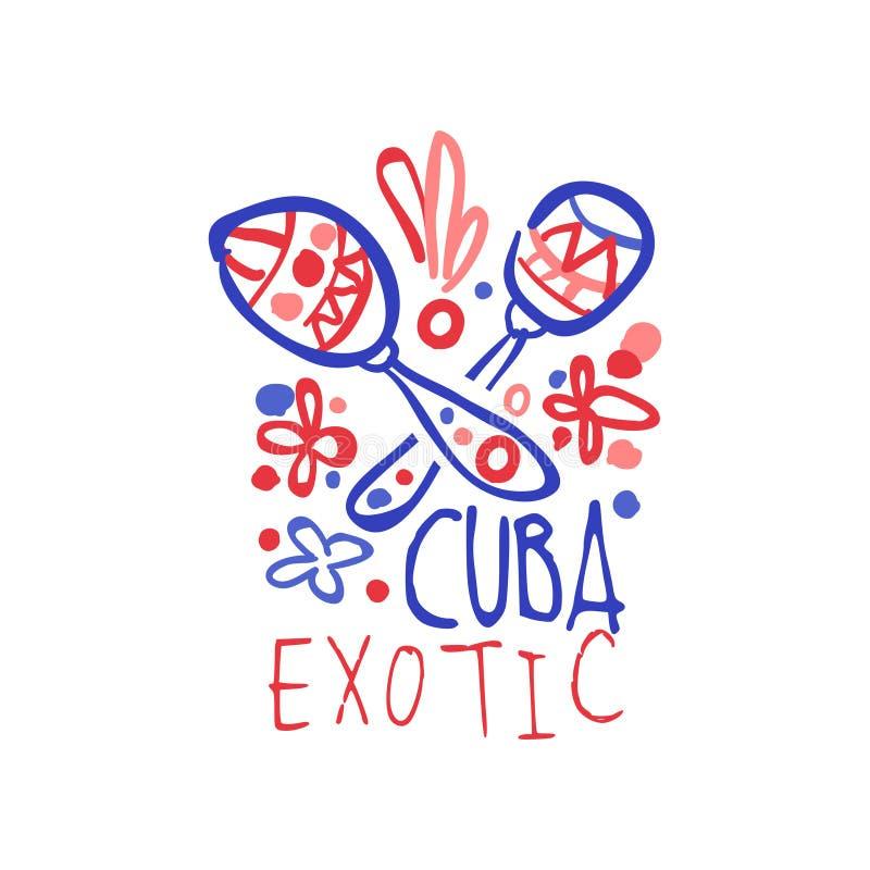 Conception originale de calibre de logo d'île du Cuba, insigne exotique de vacances d'été, label pour une agence de voyages, élém illustration libre de droits