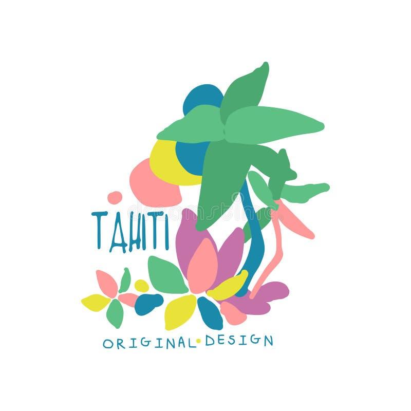 Conception originale de calibre de logo d'île du Tahiti, insigne exotique de vacances d'été, label pour une agence de voyages, él illustration libre de droits
