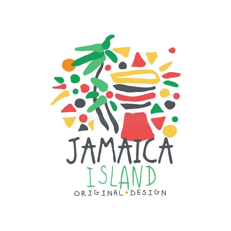 Conception originale de calibre de logo d'île de la Jamaïque, insigne exotique de vacances d'été, label pour une agence de voyage illustration de vecteur