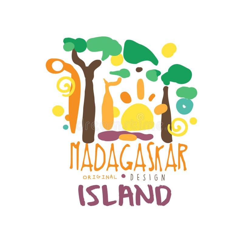 Conception originale de calibre de logo d'île de Madagaskar, insigne exotique de vacances d'été, label pour une agence de voyages illustration libre de droits