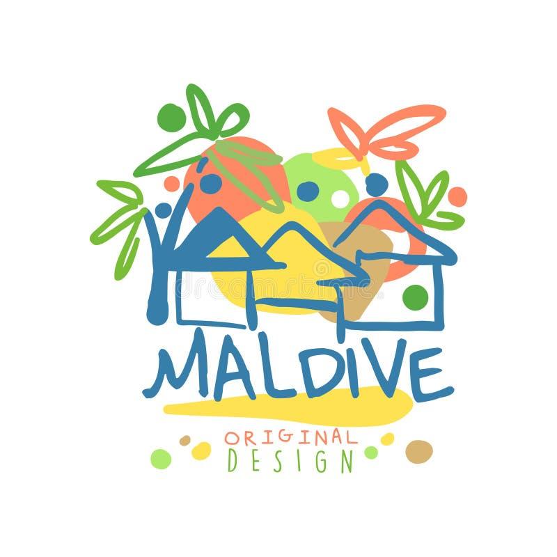 Conception originale de calibre de logo d'île Maldive, insigne exotique de vacances d'été, label pour une agence de voyages, élém illustration libre de droits