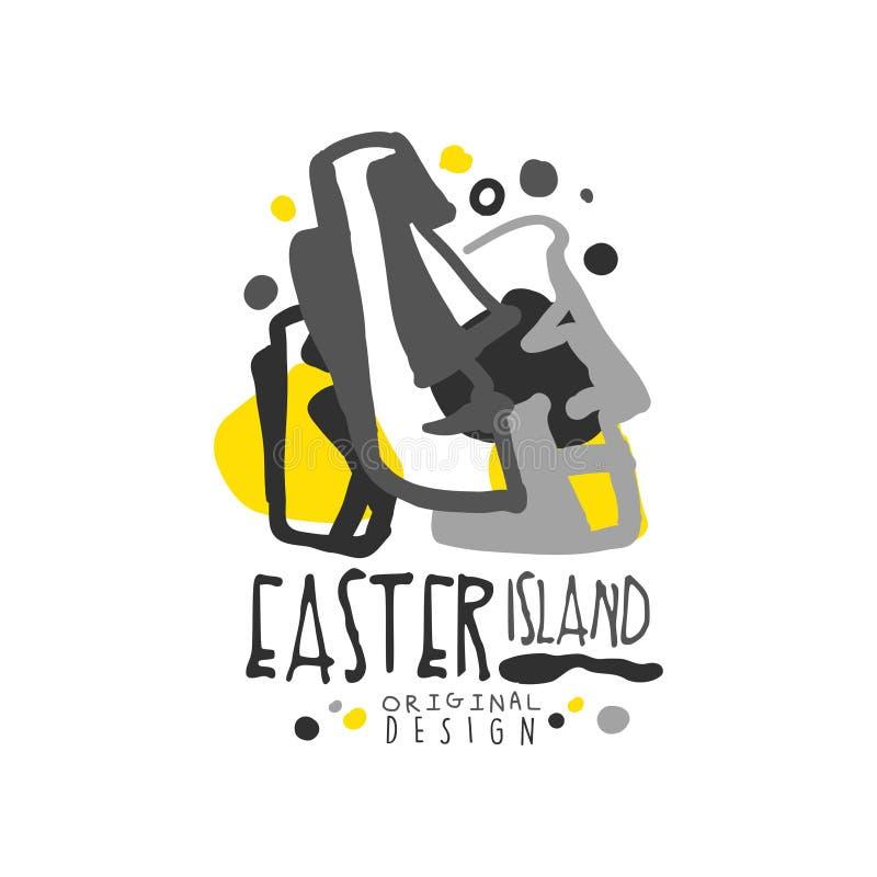 Conception originale de calibre de logo d'île de Pâques, insigne exotique de vacances d'été, label pour une agence de voyages, él illustration stock