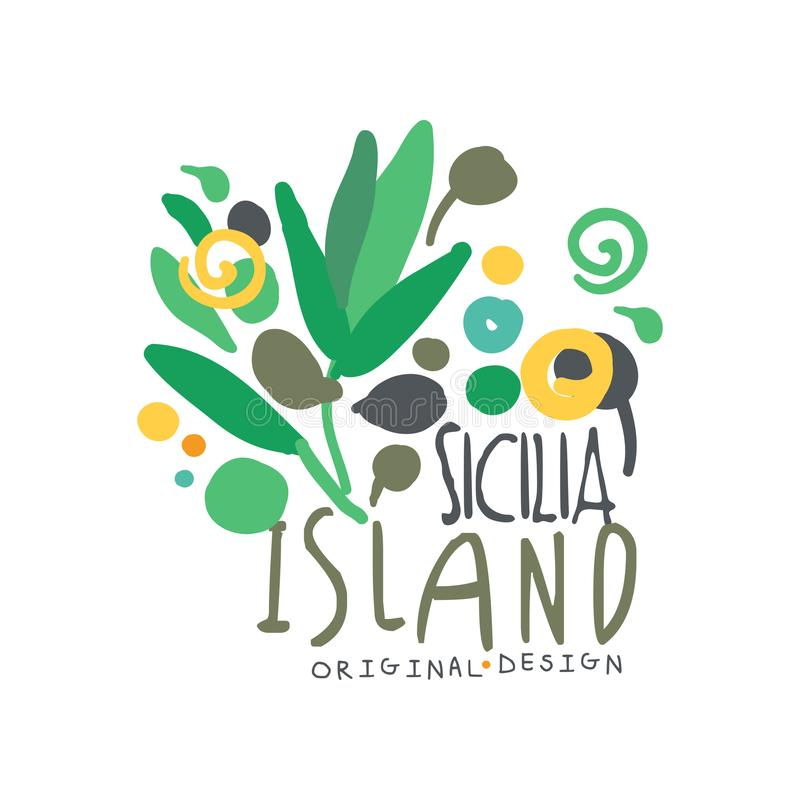 Conception originale de calibre de logo d'île de Sicilia, insigne exotique de vacances d'été, label pour une agence de voyages, é illustration libre de droits