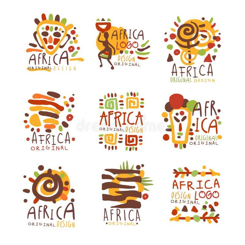 Conception originale de logo de l'Afrique Voyage aux llustrations tirés par la main colorés de vecteur de l'Afrique illustration stock