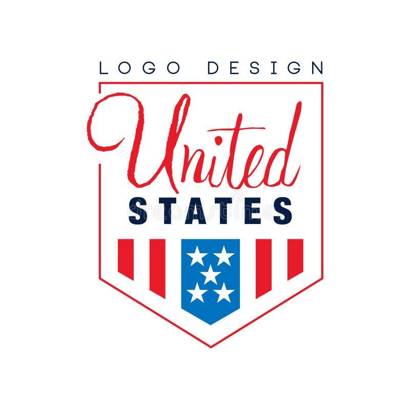 Conception originale de logo des Etats-Unis Emblème avec le drapeau américain rouge-bleu Symbole national Vecteur plat typographi illustration libre de droits
