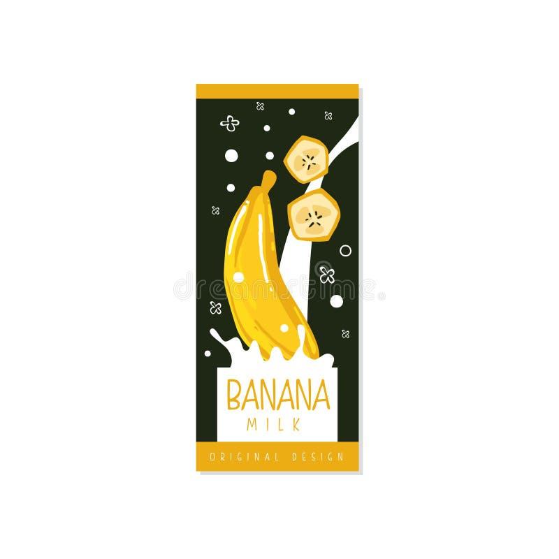 Conception originale de logo de lait de banane, label pour les laitages sains naturels avec l'illustration de vecteur de fruit fr illustration de vecteur