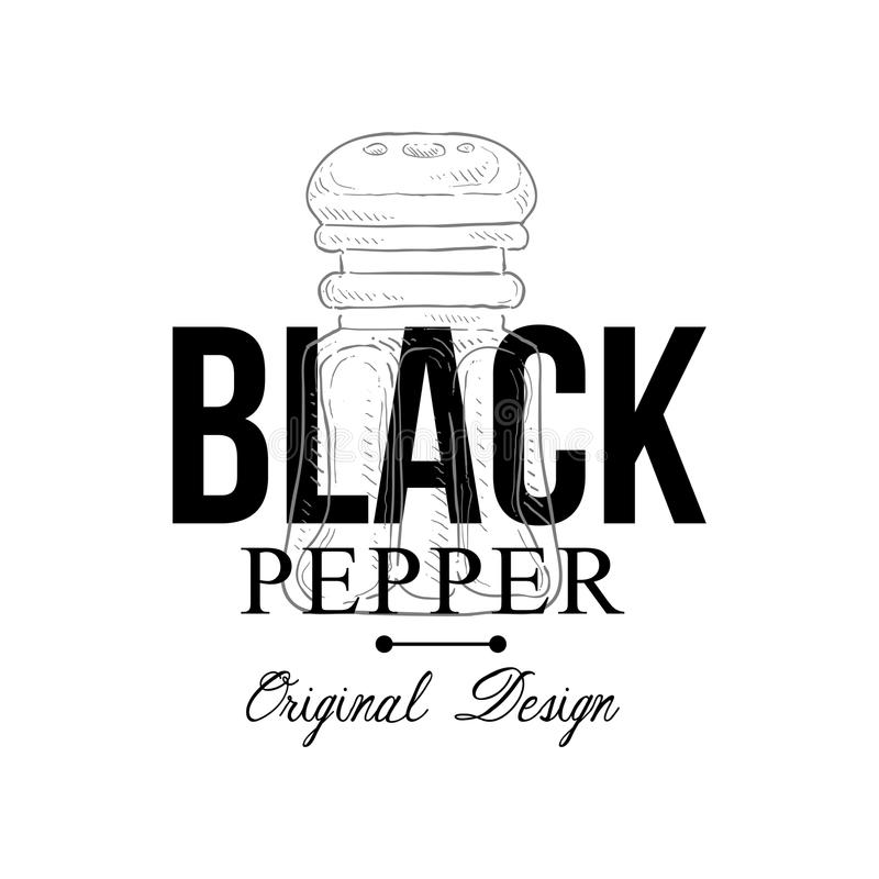 Conception originale de logo de poivre noir, illustration culinaire de vecteur d'emblème d'épice sur un fond blanc illustration stock