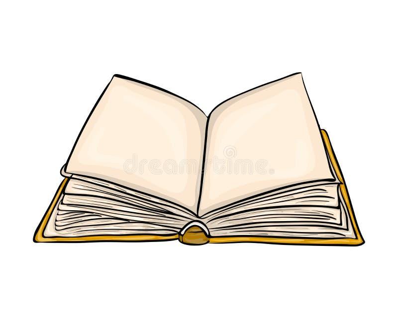Conception ouverte d'icône de symbole de vecteur de bande dessinée de livre Bel illustrat illustration de vecteur