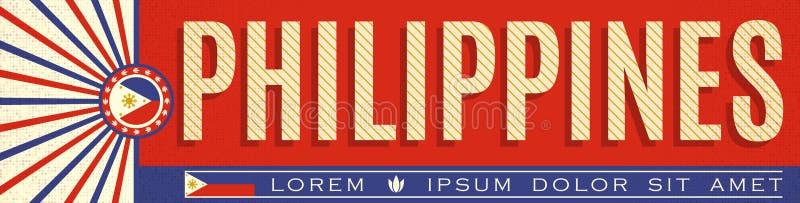 Conception patriotique de bannière de Philippines, illustration typographique de vecteur, couleurs philippines de drapeau illustration stock