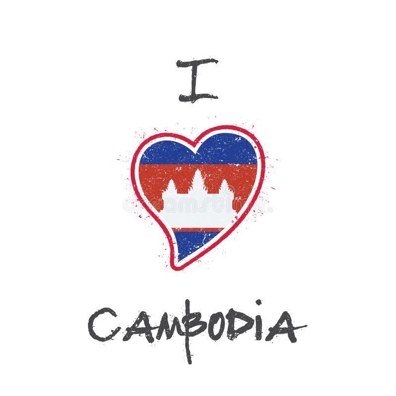Conception patriotique de T-shirt de drapeau cambodgien illustration libre de droits