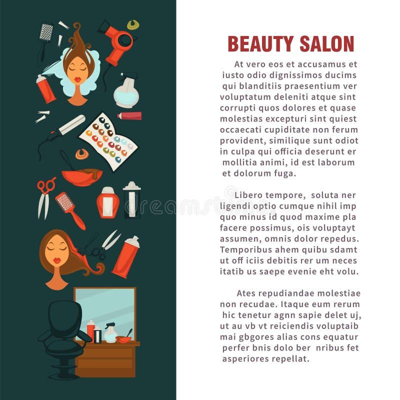 Conception plate d'affiche de salon de beauté de coiffeuse de femme pour la coloration et dénommer de cheveux illustration stock