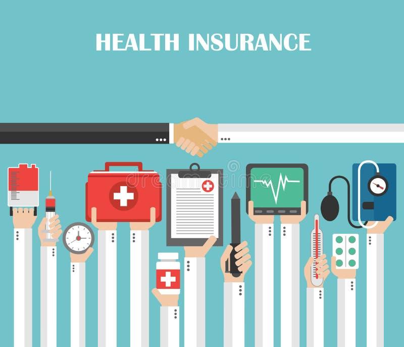 Conception plate d'assurance médicale maladie illustration libre de droits