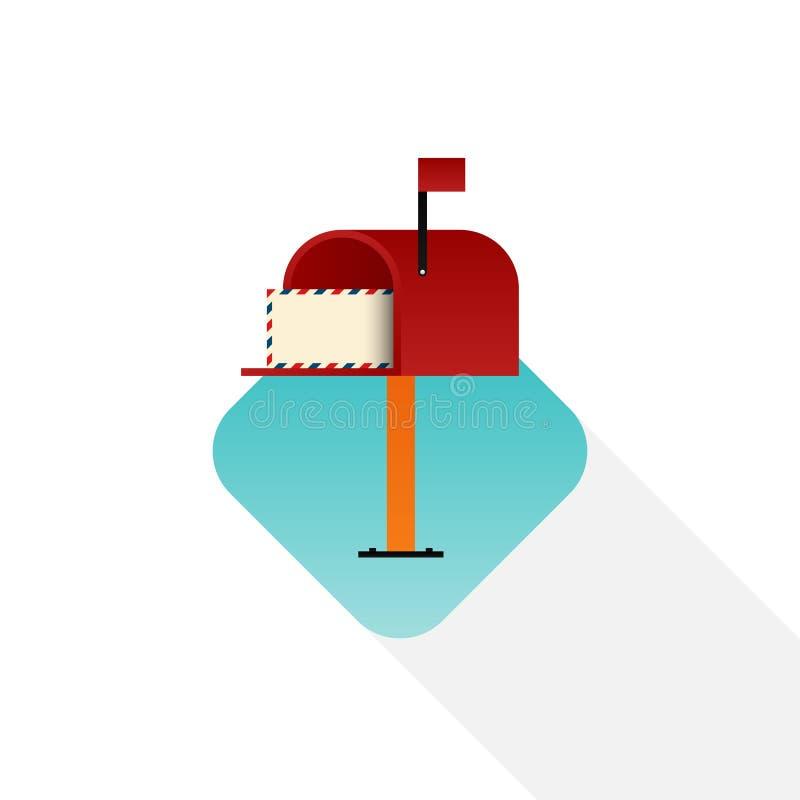 Conception plate d'icône de boîte aux lettres d'isolement sur le fond blanc illustration de vecteur