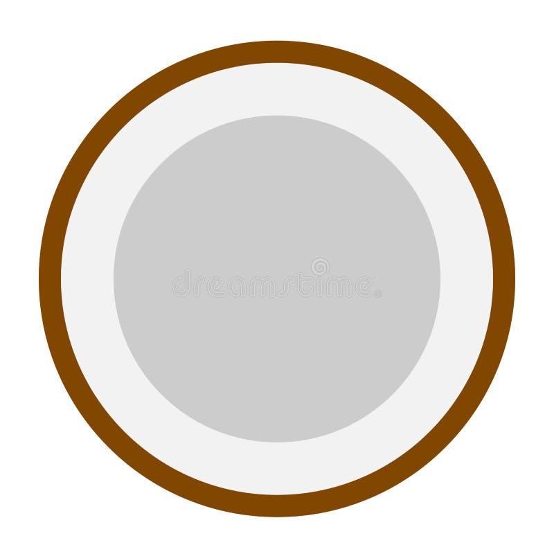 Conception plate d'icône de tranche de noix de coco illustration libre de droits