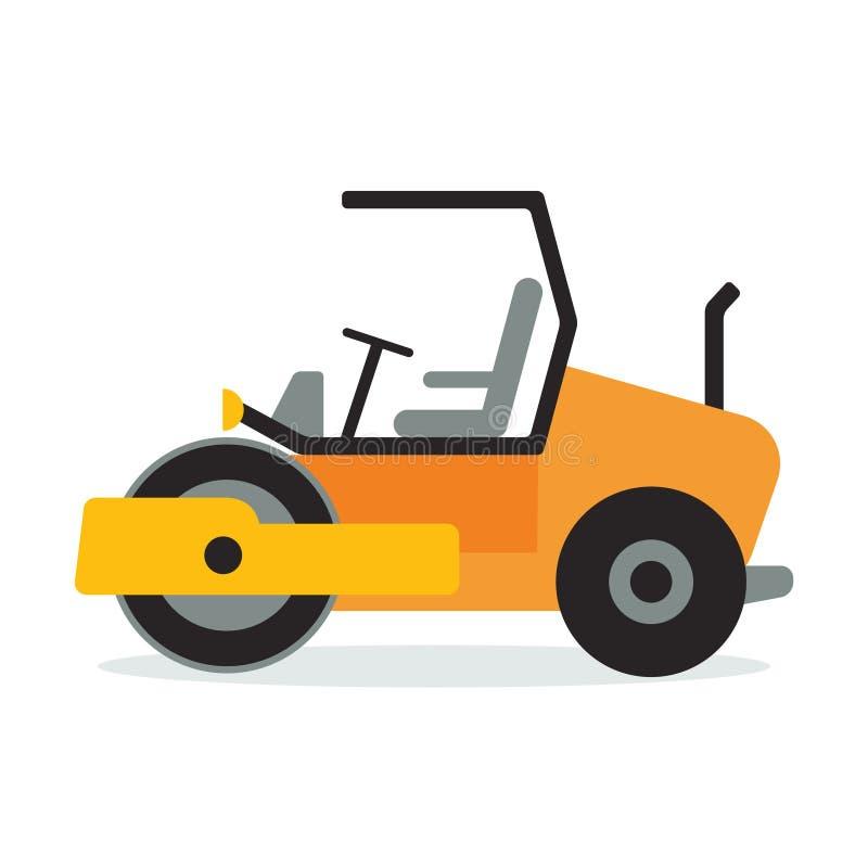 Conception plate d'icône de compacteur d'asphalte Symbole à roues de machine à paver de route C illustration stock