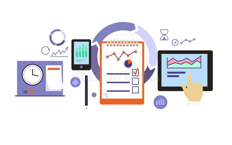 Conception plate d'icône de processus de planification illustration stock