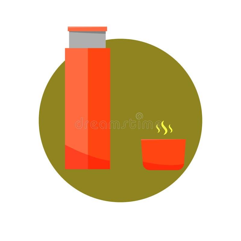 Conception plate d'icône de thermos Thermos pour la boisson chaude d'isolement sur le fond blanc illustration libre de droits