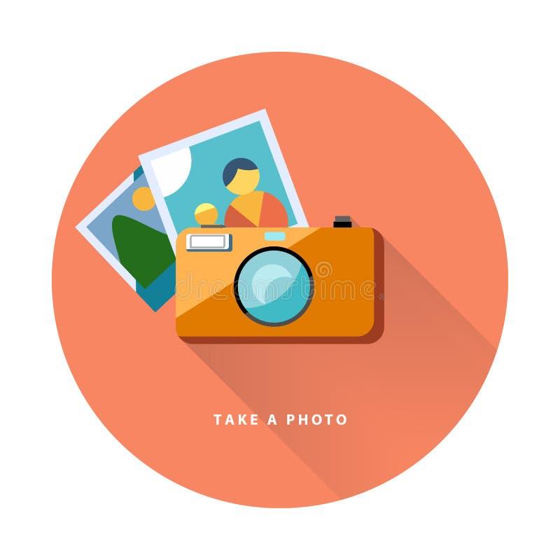 Conception plate d'icône de Web d'appareil-photo de photo, image de vecteur illustration de vecteur