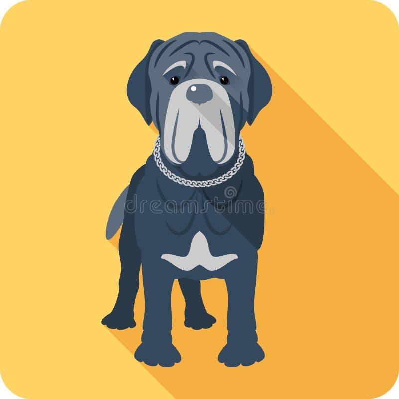 Conception plate d'icône napolitaine de mastiff de chien illustration stock
