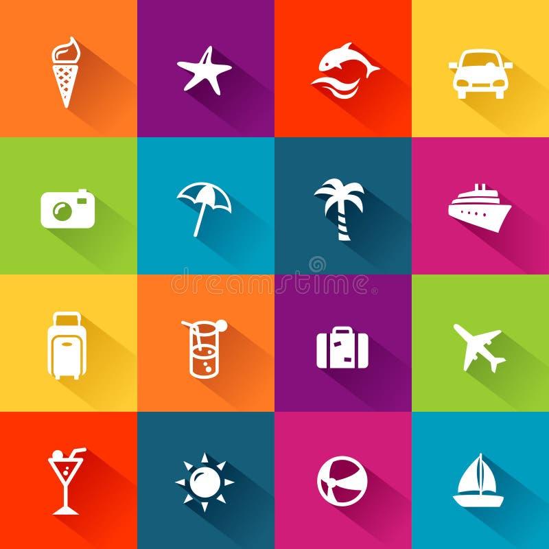 Conception plate d'icônes d'été illustration de vecteur