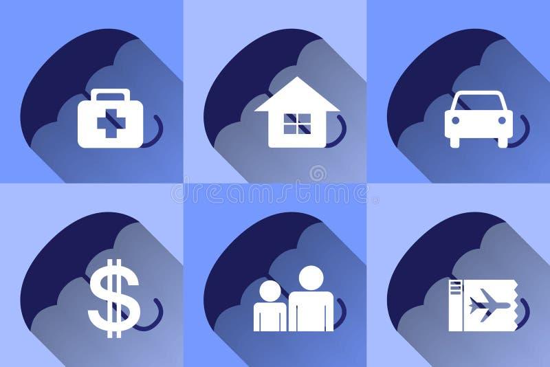 Conception plate d'icônes d'assurance illustration de vecteur