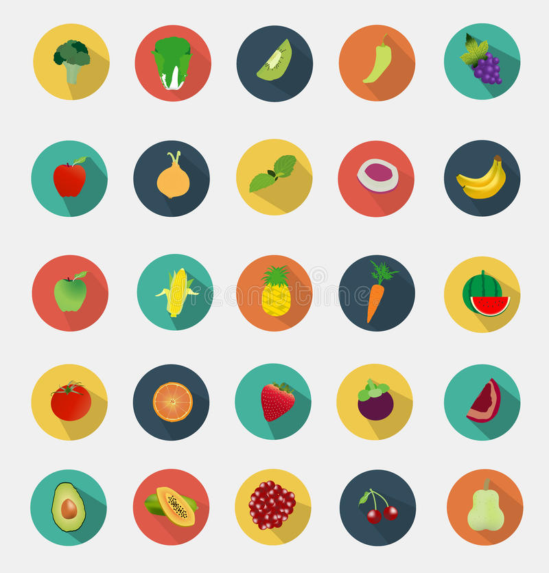 Conception plate d'icônes de fruits et légumes de vecteur illustration de vecteur